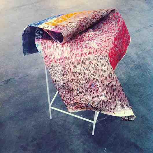 anna capolupo, don-t be afraid of emptiness ( coperta ) cm 115x110, acquarello e cucito su carta 2015