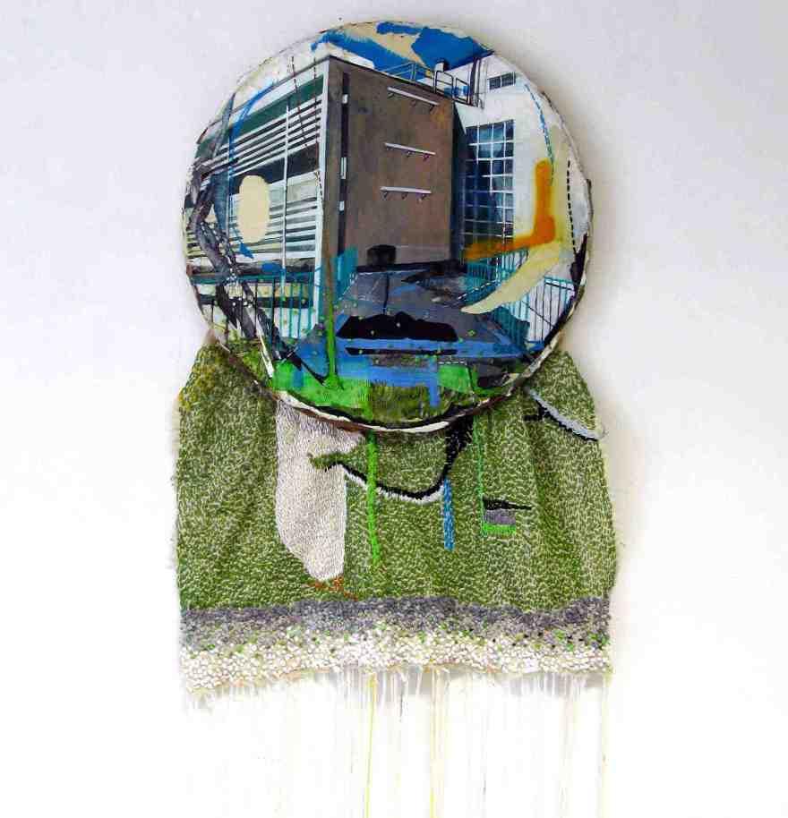 Anna Capolupo, Dream, cm 50x90 cm, tecnica mista su carta intelaiata e cucito, 2016