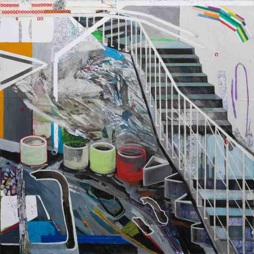 Anna Capolupo, Olivetti's Dream, cm 180x180, tecnica mista su carta intelaiata