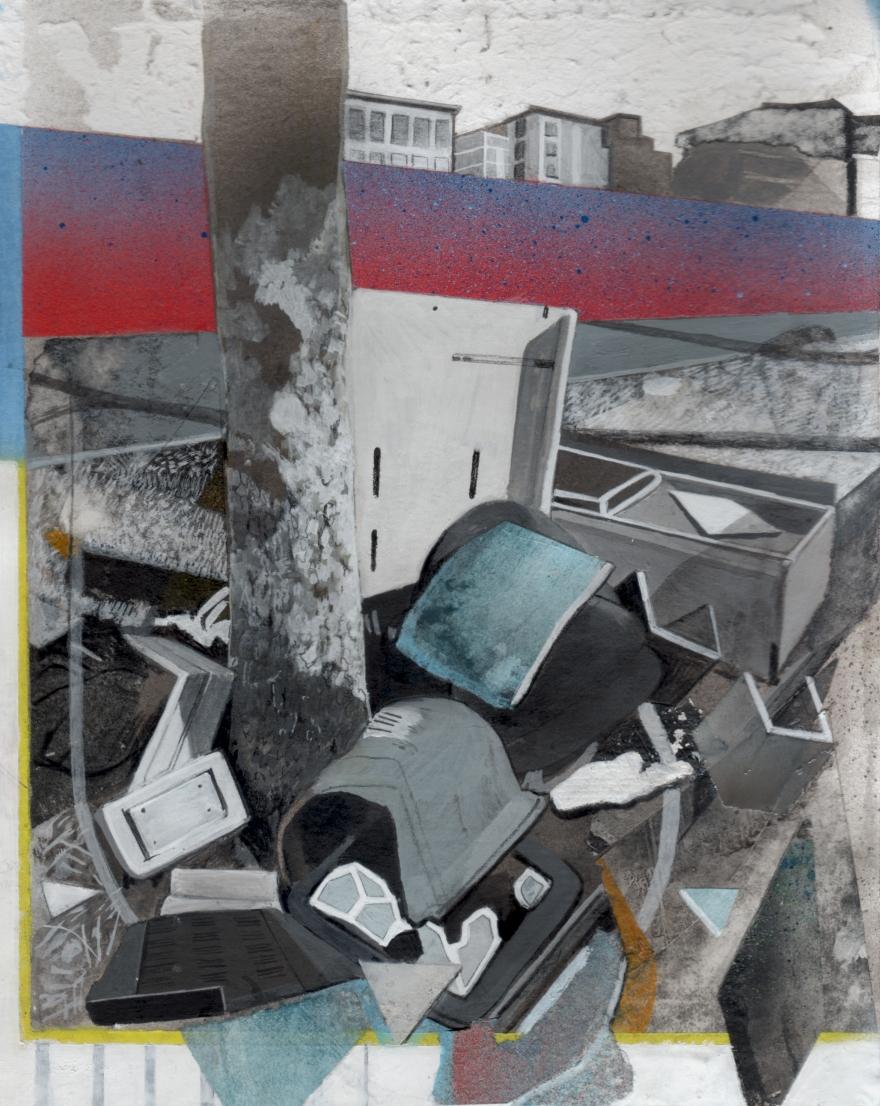 Délaissé #5, cm 25 x 20, tecnica mista su carta, 2017