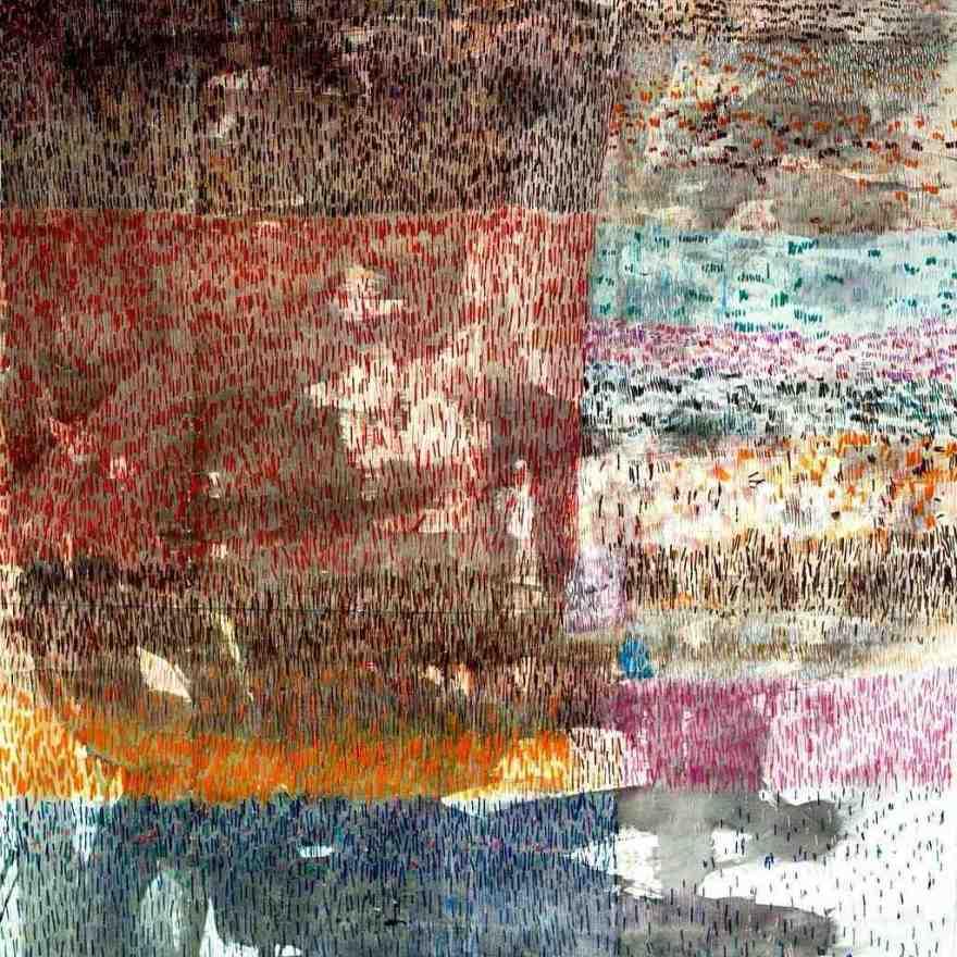 Don't be afraid of emptiness, cm 115 x 110, acquerello, pastelli e filo di cotone su carta, 2015,