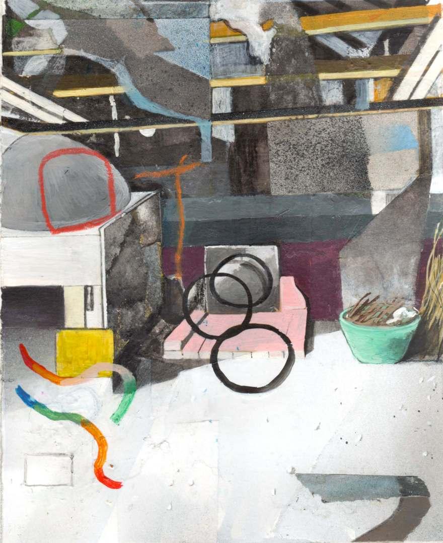 Interior #3, cm 20x23, tecnica mista su carta, 2017
