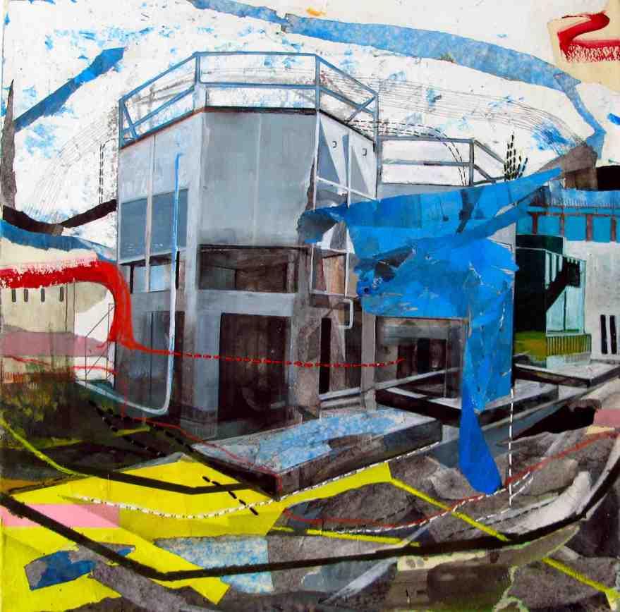 Places, cm 50x50, tecnica mista su carta iltalaiata e cucito, 2016