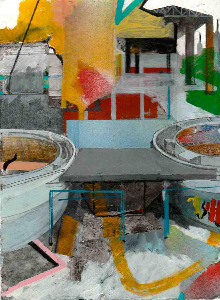 Studio di paesaggio, cm 20x15 cm, tecnica mista su carta, 2017